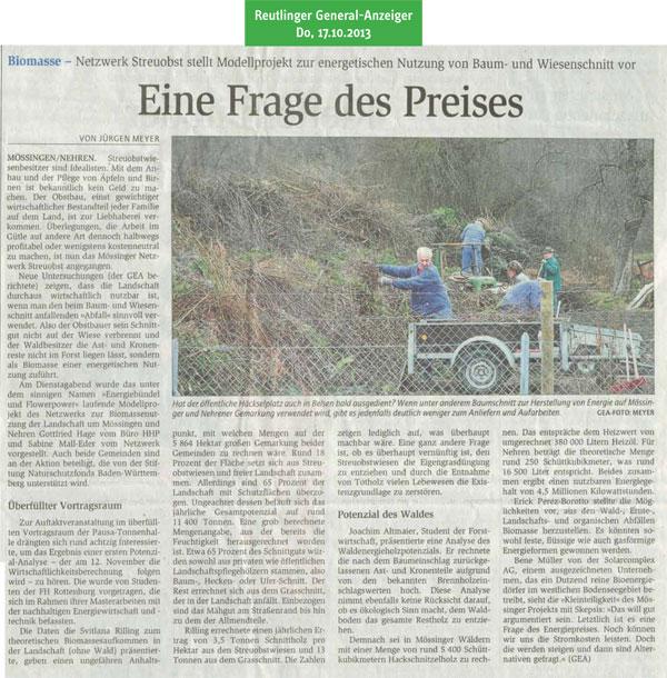 Reutlinger General-Anzeiger, 17.10.2013