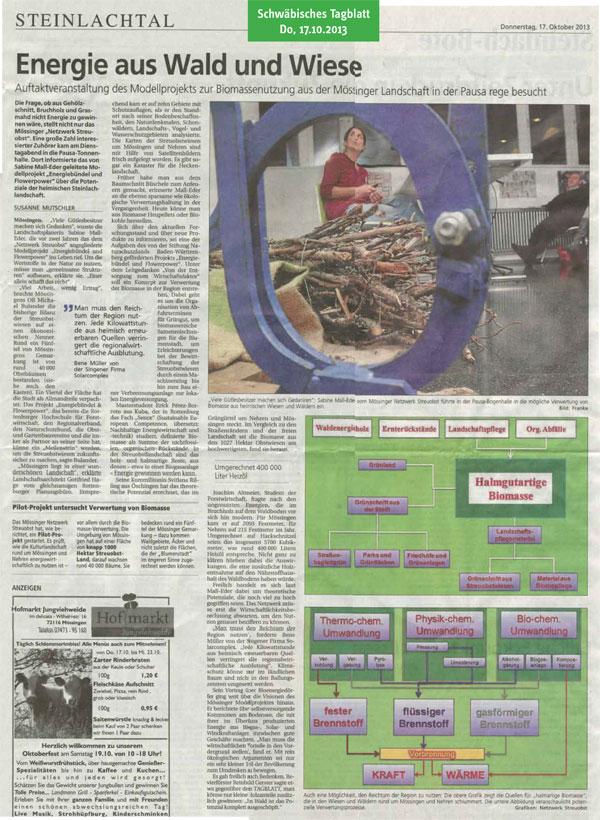 Schwäbisches Tagblatt, 17.10.2013