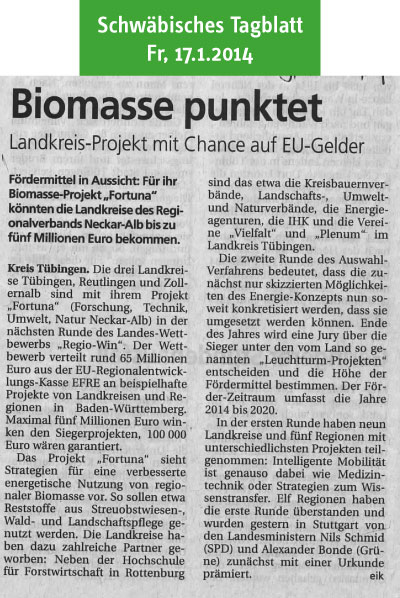 Schwäbisches Tagblatt: Biomasse punktet