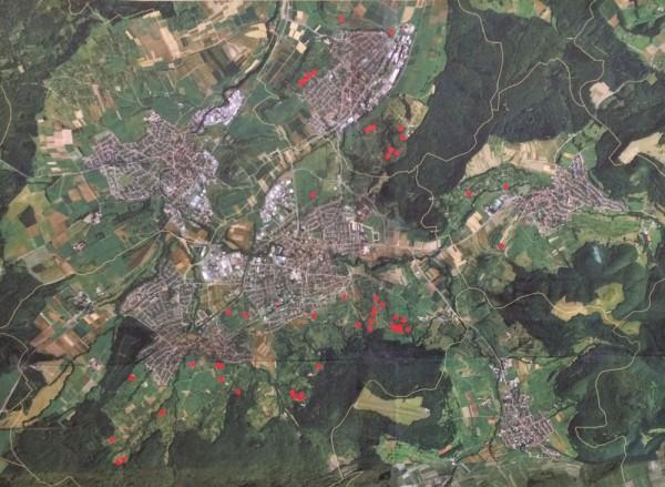 Luftbild mit Obstwiesen