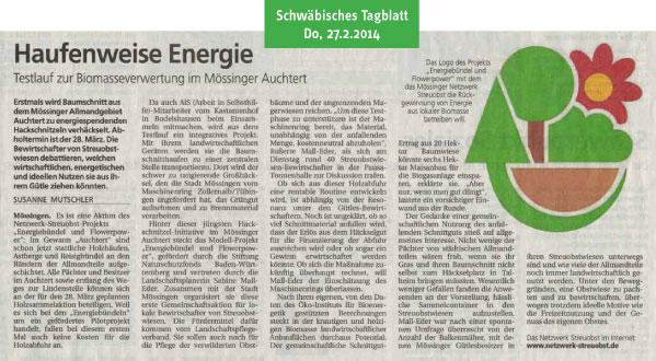 Schwäbisches Tagblatt, 27.2.2014