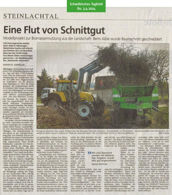 Schwäbisches Tagblatt, 3.4.2014