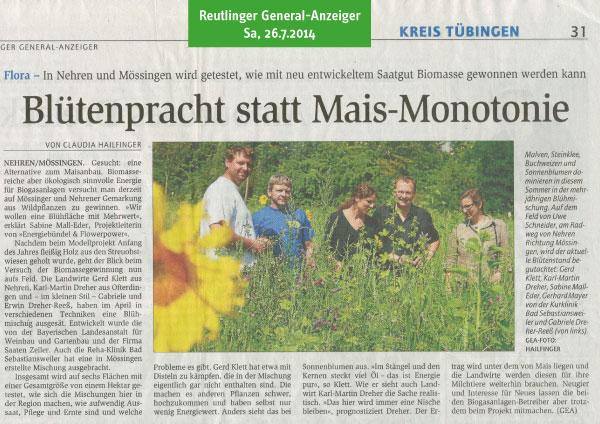 Reutlinger General-Anzeiger, 26.7.2014: Blütenpracht statt Mais-Monotonie