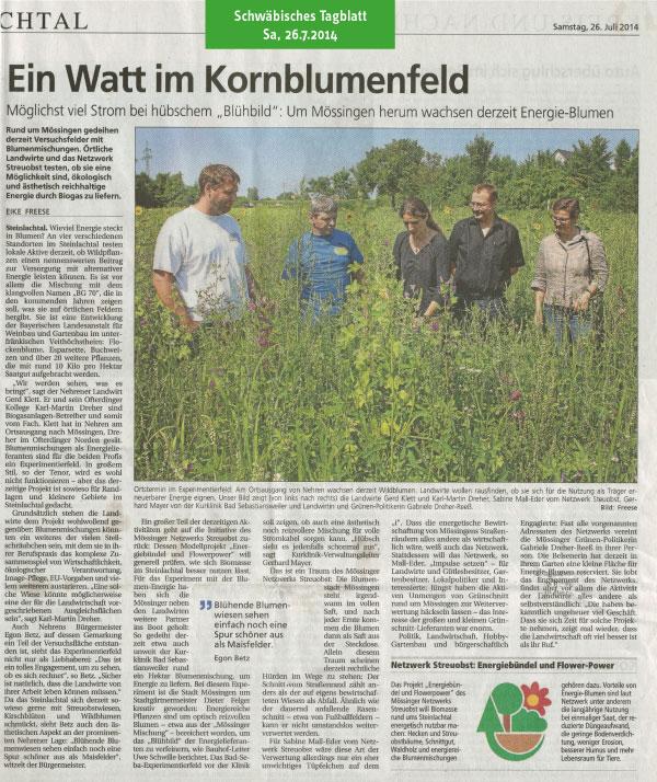 Schwäbisches Tagblatt, 26.7.2014: Ein Watt im Kornblumenfeld
