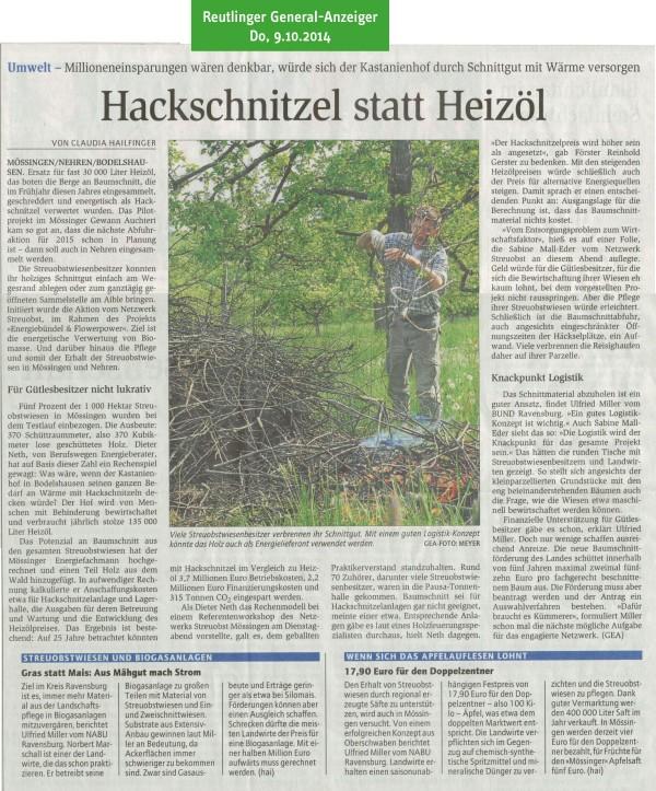Reutlinger General-Anzeiger, 9.10.2014: Hackschnitzel statt Heizöl