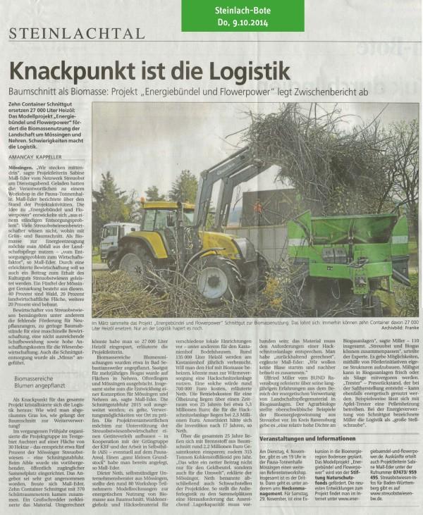 Schwäbisches Tagblatt, 9.10.2014: Knackpunkt ist die Logistik