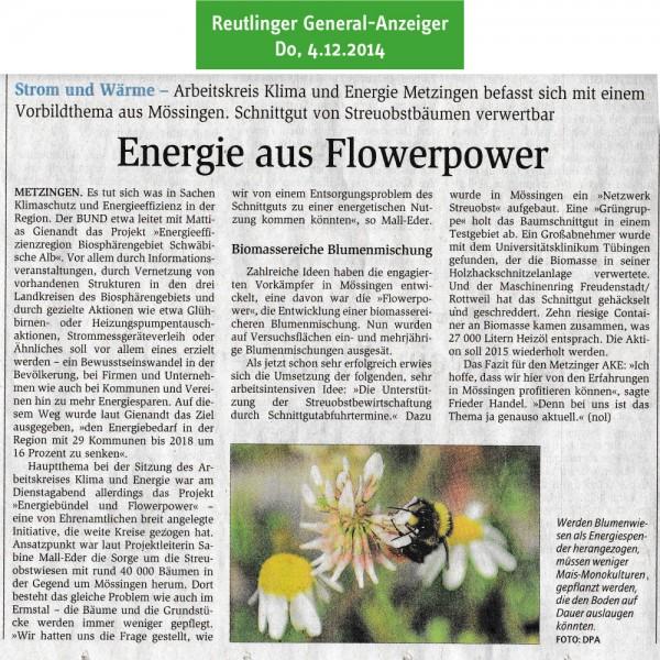 Reutlinger General-Anzeiger vom 4.12.2014: Energie aus Flowerpower
