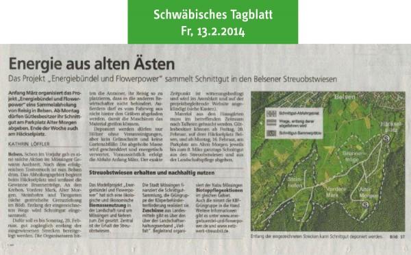 Schwäbisches Tagblatt vom 13.2.2015: Energie aus alten Ästen