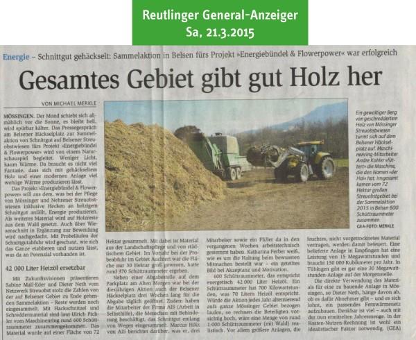 Reutlinger General-Anzeiger vom 21.3.2015: Gesamtes Gebiet gibt gut Holz her
