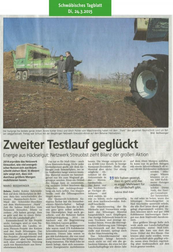 Schwäbisches Tagblatt vom 24.3.2015: Zweiter Testlauf geglückt