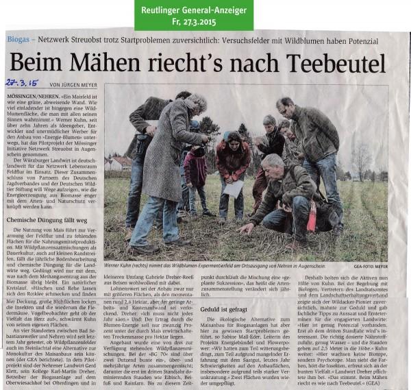 Reutlinger General-Anzeiger vom 27.3.2015: Beim Mähen riecht's nach Teebeutel