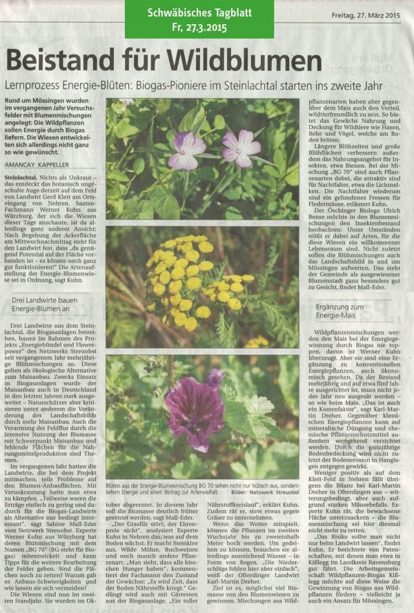 Schwäbisches Tagblatt vom 27.3.2015: Beistand für Wildblumen