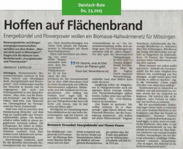 Schwäbisches Tagblatt, 7.5.2015: Hoffen auf Flächenbrand