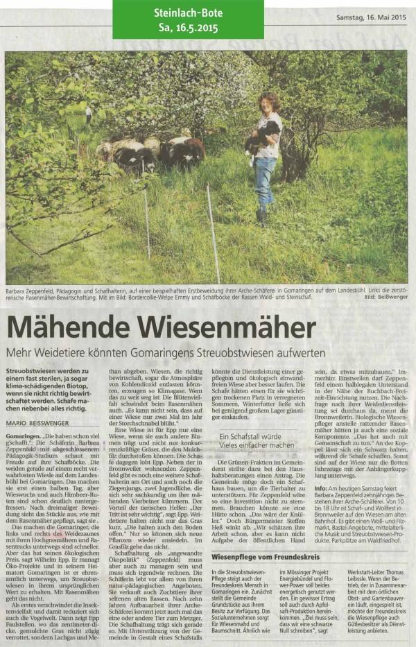 Schwäbisches Tagblatt, 7.5.2015: Mähende Wiesenmäher