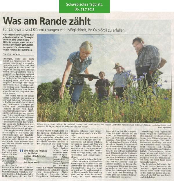 Schwäbisches Tagblatt, 23.7.2015: Was am Rande zählt