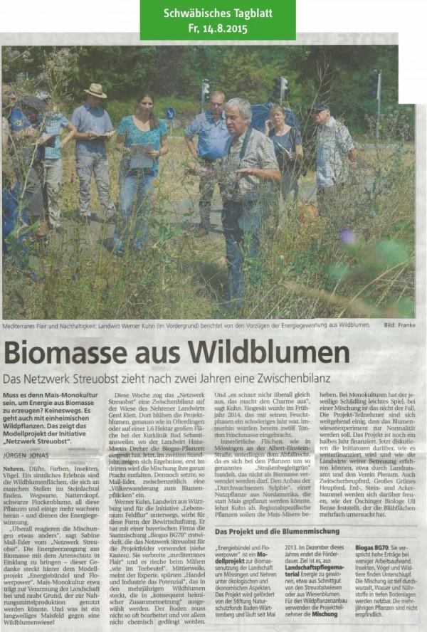 Schwäbisches Tagblatt, 18.8.2015: Biomasse aus Wildblumen