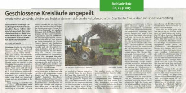 Schwäbisches Tagblatt, 24.9.2015: Geschlossene Kreisläufe angepeilt
