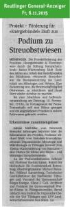 Reutlinger General-Anzeiger, 6.11.2015: Podium zu Streuobstwiesen