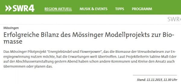 SWR4, 11.11.2015: Erfolgreiche Bilanz des Mössinger Modells zur Biomasse