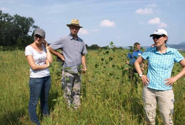 Thorsten Teichert vom Verein VIELFALT sucht Möglichkeiten einer zukünftigen Förderung der Anlage mehrjähriger Biogas-Blühmischungen. Er wird eingerahmt von Frau Ditzenbach und Frau Zobel von der Unteren Naturschutzbehörde des Landratsamtes und Herrn Dreher Junior.