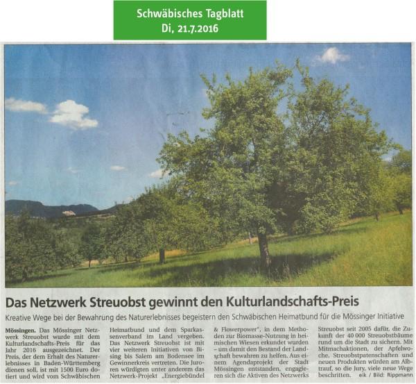 Schwäbisches Tagblatt, 21.7.2016