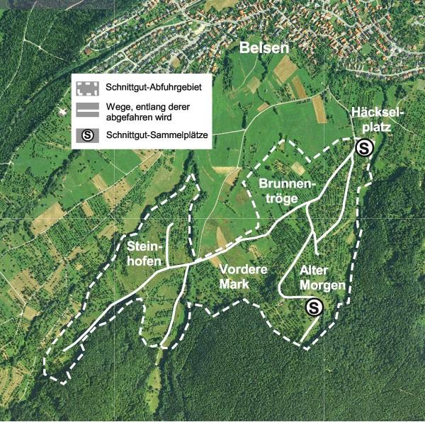 Schnittgutabfuhr in Belsen 2015 entlang der dargestellten Wege