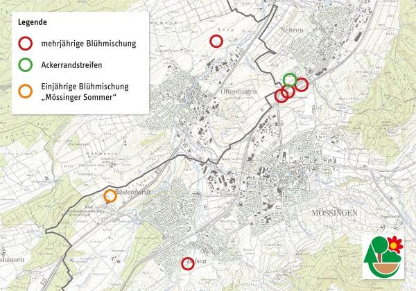 Karte der Mössinger Flowerpowerfelder