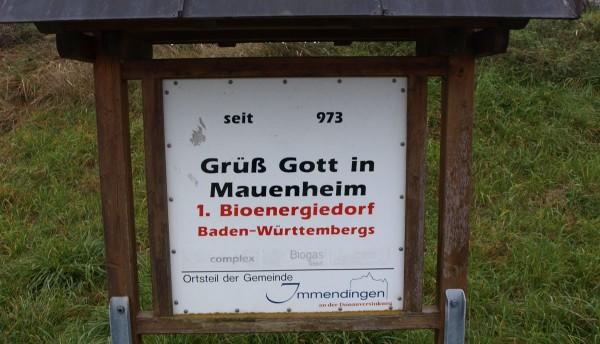 Über tausend Jahre alt, und seit 2006 auch erstes Bioenergiedorf in Baden-Württemberg: Mauenheim.